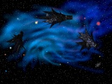 Small picture of 3 Shadow fighters against a blue nebula